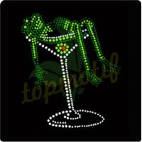 China Excellent Wine Hot Fix Transfers Rhinestone Design Pattern For T Shirt on sale