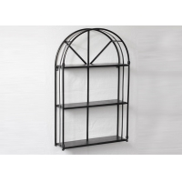China Living Room Black Floating Metal And Wood Display Shelves on sale