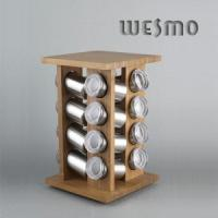 Buy cheap 16 Stainless Steel Bottles, Durable Carousel Revolving Bamboo Spice Rack product