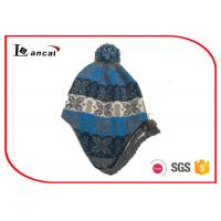 Quality Multi Color Pom And Braid Knitted Trapper Hat For Boys , Fur Bomber Hat for sale