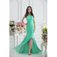 Buy Gorgeous Green One Shoulder Mermaid Floor Length Chiffon Evening party Dress With Beads at wholesale prices