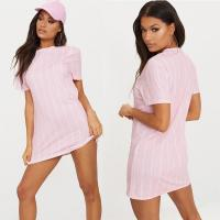 China Hot Sale Fashion Pastel Pink Stripe Print T Shirt Dress For Women on sale