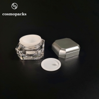 Quality 5g 10g Silver / Gold Two Layers Acrylic / PP Plastic Cream Jars for sale