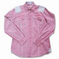 Quality Men's Embroidered Casual Shirt with Long Sleeves and Two Front Pockets for sale