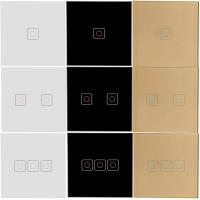 Buy EU Standard Light Switch Touch Panel Glass Switches, 1/2/3/ Gang Sensor Light at wholesale prices