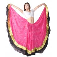 Quality Embroidery with contrast color ruffles belly dancing skirts black , fuchsia ,  white color for sale