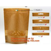 China custom resealable recyclable kraft paper square bottom zipper bag, standup Zipper seal Kraft Paper Coffee Bag with Side on sale