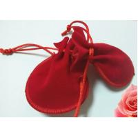 Quality Pretty Red Mini Velvet Drawstring Bag , Handmade Drawstring Gift Bags for sale