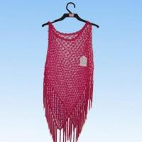 Quality Ladies Pink Cocheted Poncho with Fringe for sale