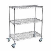 China Custom Size Wire Utility Cart With Wheels / 3 Shelf ESD Wire Shelving on sale