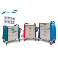 China ABS Emergency Treatment Trolley Medical Crash Cart With Oxygen Cylinder Holder on sale