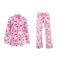 100% Cotton Flannel Button Up Womens Pyjama Sets With Piping And Long Pants