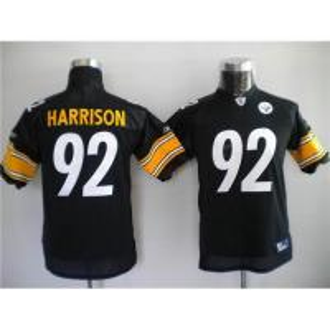 China Reebok NFL Jerseys Pittsburgh Steelers 92 James Harrison Black【KIDS】 on sale