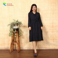 Quality Vintage Ladies Long Sleeve Dresses Plus Size Notched Collar For Spring / Autumn for sale