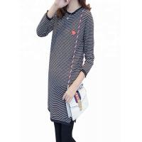 Quality Striped Pattern Maternity Knit Sweater Loose Fit Type Polyester / Cotton Material for sale