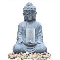 Quality Cyan Stone Sitting Buddha Water Fountain For Home / Asian Water Fountains for sale