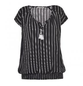 China Tassel Decoration Ladies Fashion Tops Girls Black And White Striped Shirt on sale