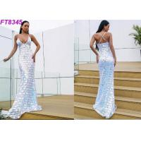 Quality Modern Deep V Back Cross Strap Sequins Long Evening Gowns , Sexy Evening Dresses for sale
