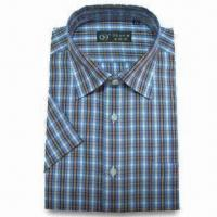 Quality Men's Dress Shirt with Short Sleeves, Made of TC Fabric for sale