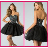 Quality Black Tulle Short Long Homecoming Dresses With Crystal Gowns Lace Up for sale