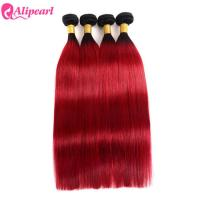 Quality Brazilian Ombre Hair Weave 4 Bundles 1B Red Straight Virgin Colored Hair for sale