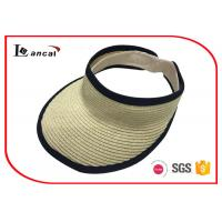 Buy cheap Light weight paper natural visor cap Wide Brimmed Straw Hat with black bound from wholesalers