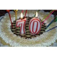 Buy Paraffin Wax Number 70 Decorative Cake Candles With Red Colors Edge OEM at wholesale prices