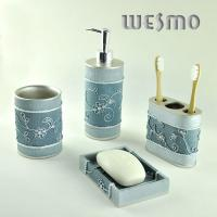 Quality Traditional Chinese style 4 Piece Blue Polyresin Bathroom Set with Embossed Flowers for sale