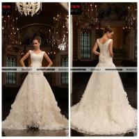 Quality Lastest V-neck Cap Sleeve Ball Gown White Organza Wedding Gown Designs 2014 for sale