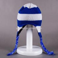 China 2017 fashion jacquard decorate for girls 100%Polyester 33*20cm winter knitting plain dyed color Peruvian earflap Hats on sale