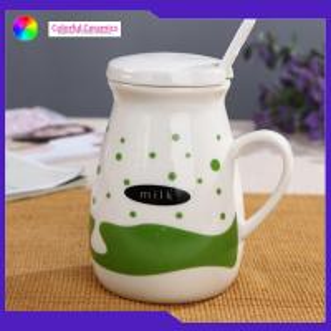 China Tableware New Bone China Mug 400ml Capacity Ceramic Coffee Cup With Lid / Spoon on sale