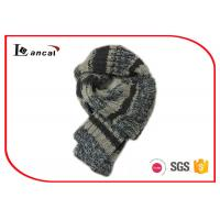 Quality 100% Wool Knitted Hooded Scarf Grey Stripe Crochet Scarves For Women for sale