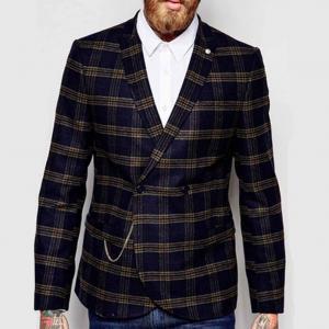China Slim Fit Notch Lapels Mens Flight Jacket Check Wool Coat Latest Blazer Design on sale