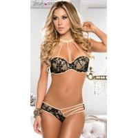 Sexy Lingerie Wholesale Sexy Gold Strappy Bra and Panty Set Lingerie Wholesale
