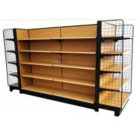 Buy cheap wooden grain metal shelves grocery store double side supermarket shelf with 65 kg capacity from wholesalers