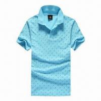 Quality Men's Summer Fashionable Polo Shirt, Two Plastic Buttons in Placket for sale