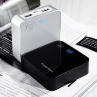 Quality Dual USB Ipad Phone Charger , 8400mah Black Square LCD USB Charger for sale