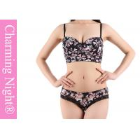 Quality Ladies Underwear Set With Sexy See - through Briefs Panties Printed Flower for sale