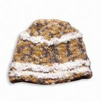Quality Knitted Women's Hat, Made of 30% Wool and 70% Acrylic for sale