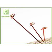 Quality Red Bamboo BBQ Sticks Knotted Bamboo Skewers For Fruit 70 / 80 / 105 / 120mm for sale