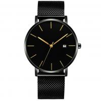 Men Simple Analog Watch china watch manufacturer Waterproof Stainless Steel Mesh band Private Label Fashion Custom logo
