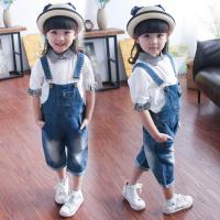 China Light Wash Short Overalls Jeans For Children , Soft Organic Cotton Baby Clothes on sale