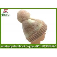 Chinese manufactuer skully pompom winter knitting hat cap 88g 21*23cm 100