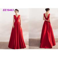 Ladies Formal Long Red Prom Dresses , Satin Backless Evening Gowns Sleeveless
