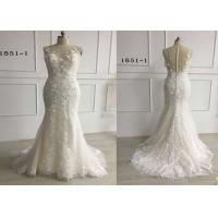 Quality 3D Embroidery White Mermaid Style Wedding Dress For Girls Glitter Tulle Sleeveless for sale