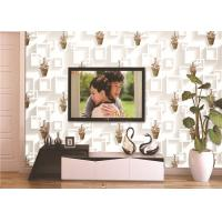 Buy cheap 3D Moisture-Proof Non-Woven Wallpaper With Basket Of Flowers And Square Printings product