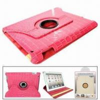 Quality Rotating Leather Case for iPad 2, with Function of Stand, Protects from Scratches for sale