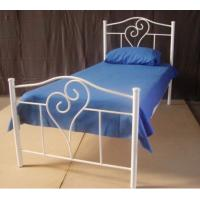 Quality Shape of love Simple Fully Welded Metal Frame Bed Single With Strong Structure for sale