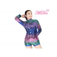 Quality MiDee Full Neon Color Sequined Long Sleeve Dance Biketard Jazz Costume for sale