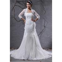 China Customized Strapless A Line Romantic Lace Wedding Gowns with Long Sleeve Jacket , Ivory on sale
